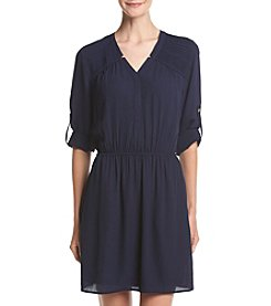 Black Rainn™ Pleated Shoulder Shirtdress