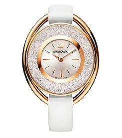 Swarovski® Women's Rose Goldtone Crystalline Oval White Watch