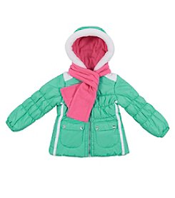 London Fog® Girls' 4-6X Puffer Jacket With Scarf