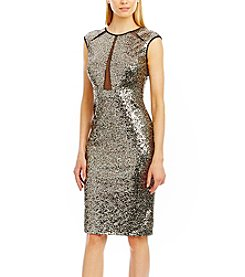 Nicole Miller New York™ Sequin Sheath With Illusion Front Dress