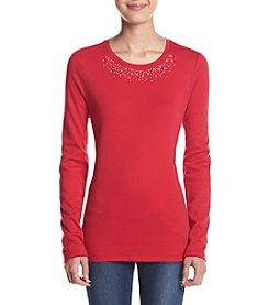 Studio Works® Petites' Embellished Crew Neck Tee