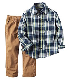 Carter's® Boys' 2T-4T 2-Piece Plaid Shirt And Pants Set