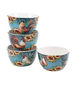 Certified International by Susan Winget Sunflower Rooster Set of 4 Ice Cream Bowls