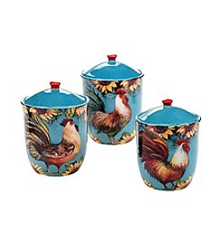 Certified International by Susan Winget Sunflower Rooster 3-pc. Canister Set