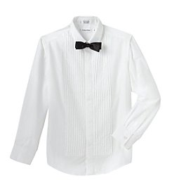 Calvin Klein Boys' 8-20 Tuxedo Shirt with Bow Tie