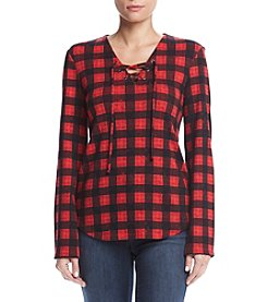 Ruff Hewn Plaid Lace Up Top