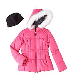 London Fog® Girls' 7-16 Printed Puffer Jacket With Hat