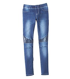 Vigoss® Girls' 7-16 Sequin Knee Skinny Jeans
