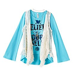 Beautees Girls' 7-16 Long Sleeve Believe Tee With Crochet Vest
