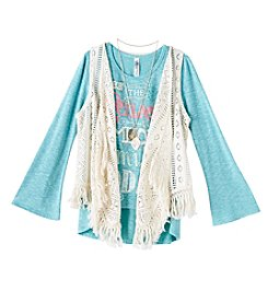 Beautees Girls' 7-16 Long Sleeve Smile Tee With Crochet Vest