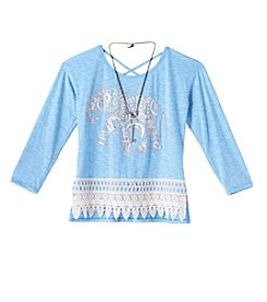 Beautees Girls' 7-16 Long Sleeve Elephant Crochet Hem Top