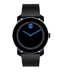 Movado® BOLD Men's Black Leather Strap Watch