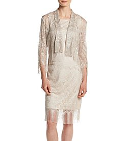 Chetta B. Two Piece Metallic Lace Dress
