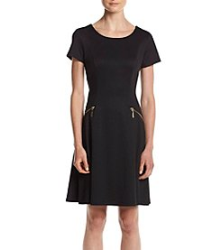 Chetta B. Ponte Fit And Flare Dress