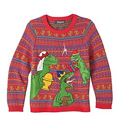 33 Degrees Boys' 8-20 3 Wise Dinosaurs Sweater