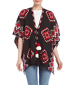 Relativity Pattern Poncho Sweater With Poms