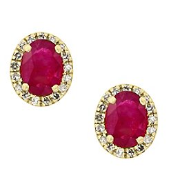 Effy® Amore Collection Ruby And 0.13 Ct. T.W. Diamond Earrings In 14K Yellow Gold
