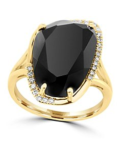 Effy® Eclipse Collection Onyx And 0.11 Ct. T.W. Diamond Ring In 14K Yellow Gold