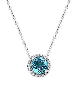 Effy® Ocean Bleu Collection Blue Topaz And 0.08 Ct. T.W. Diamond Pendant In 14K White Gold