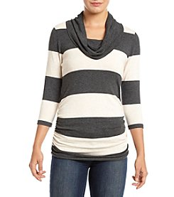 Pink Rose® Three-Quarter Sleeve Striped Ruched Cowlneck Sweater