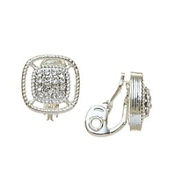 Napier® Simulated Crystal Small Clip Button Earrings