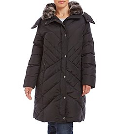 London Fog® Plus Size Chevron Quilted Down Jacket