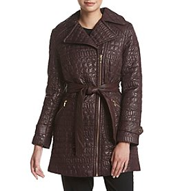 Via Spiga® Crocodile Textured Quilt Jacket