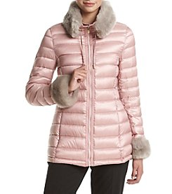 Via Spiga® Faux Fur Trimmed Jacket