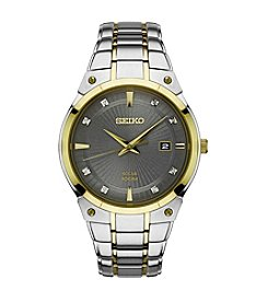Seiko® Men's Solar Two-Tone Watch With Diamond Accents