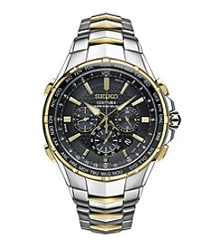 Seiko® Men's Radio Sync Solar Chronograph Two-Tone Watch With Black Dial