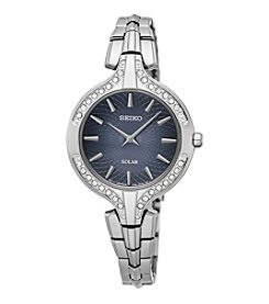 Seiko® Women's Recraft Solar Silvertone Watch With Swarovski Crystal Accents