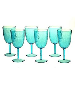Certified International Set of 6 All Purpose Teal Goblets