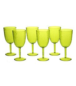 Certified International Set of 6 All Purpose Lime Green Goblets