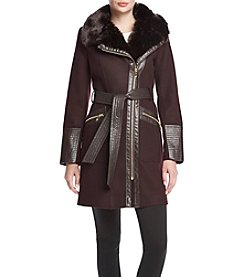 Via Spiga® Faux Leather Detail Coat