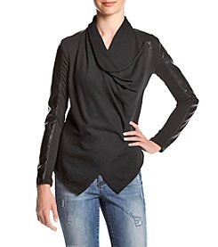 BLANKNYC® Drape Front Knit Jacket With Faux Leather