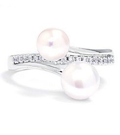 Athra Silver-Plated Cubic Zirconia and Fresh Water Pearl Ring