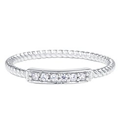 Athra Sterling Silver Cubic Zirconia Accent Bar Rope Ring