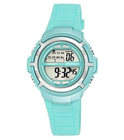 Armitron Sport Women's Silvertone Accented Digital Teal Resin Strap Watch