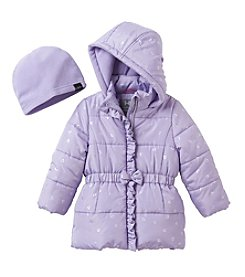 Hawke & Co. Girls' 2T-6X Metallic Hearts Puffer Jacket With Hat