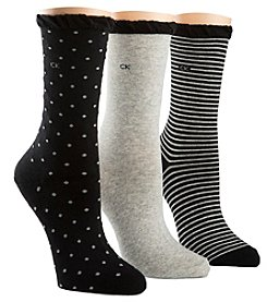 Calvin Klein 3-Pack Dot And Striped Crew Socks