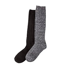 Relativity® 2-Pack Cable Rib Knee Sock