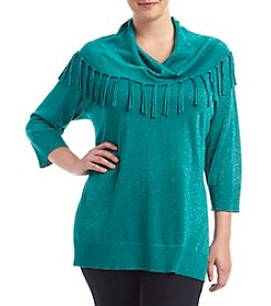 Studio Works® Plus Size Cowlneck Sweater with Fringe
