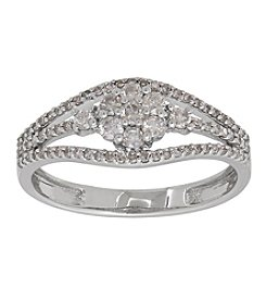 0.5 Ct. T.W. Diamond Ring In 14K White Gold
