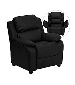 Flash Furniture Deluxe Contemporary Leather Kids Recliner with Storage Arms
