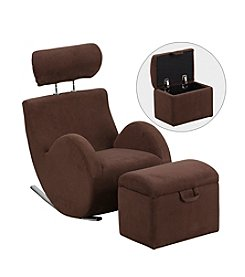 Flash Furniture HERCULES Series Fabric Rocking Chair with Storage Ottoman