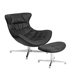 Flash Furniture Leather Cocoon Chair with Ottoman