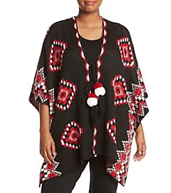 Relativity® Plus Size Tie Front Pattern Poncho