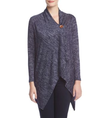 Bobeau Marled One Button Cardigan