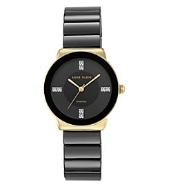 Anne Klein® Black Ceramic Diamond Dial Watch