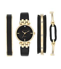 Anne Klein® Black and Goldtone Diamond Dial Watch Set